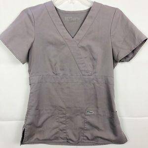 Grey's Anatomy Gray V-Neck Scrub Top Size XS